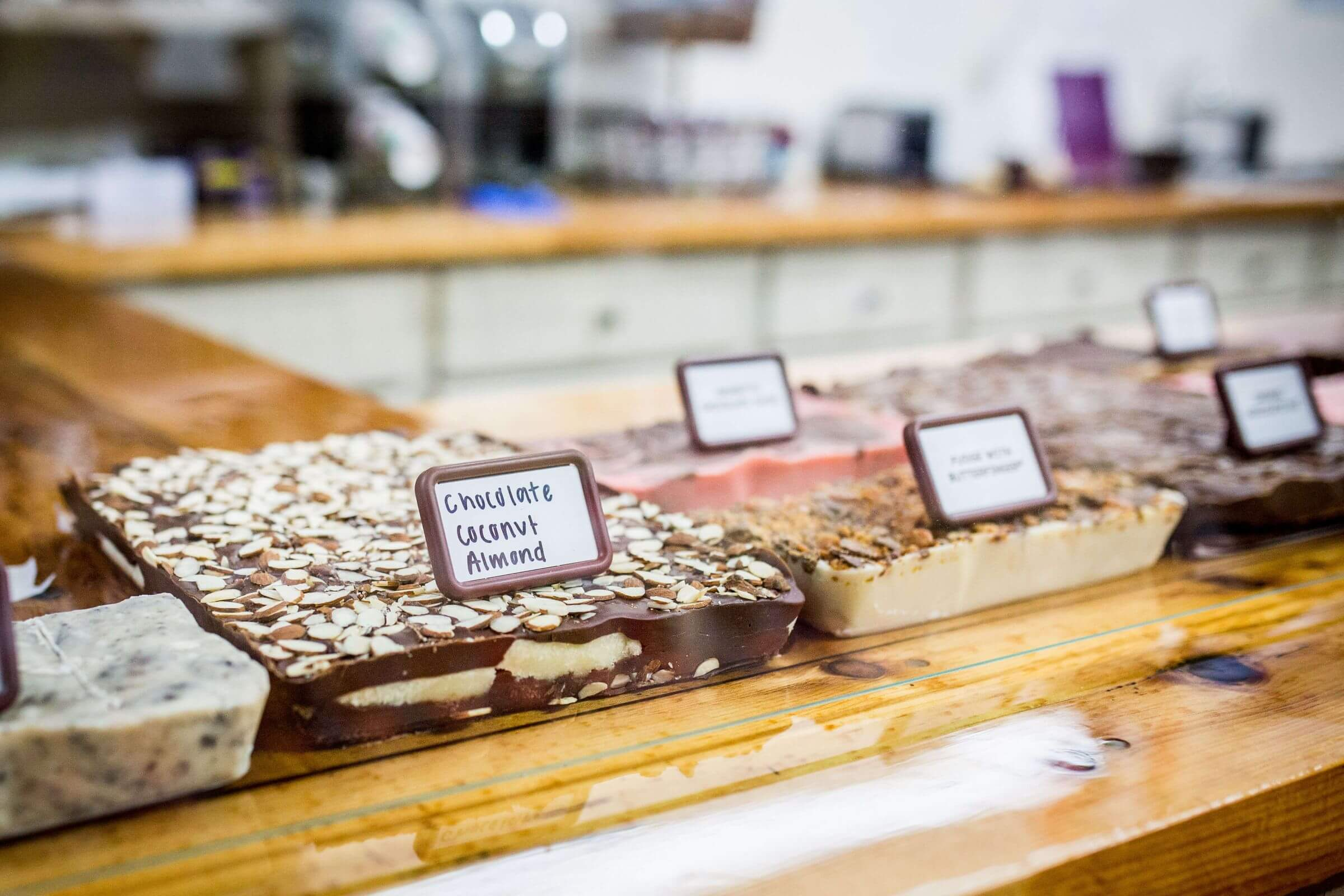 Array of homeamade fudge at Pinter's Candies & Gifts